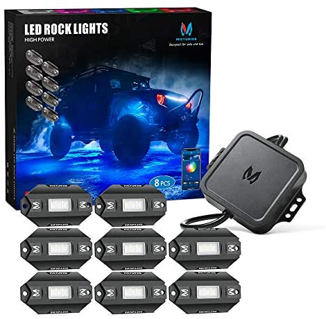 MICTUNING C1 8 Pods RGBW LED Rock Lights – Multicolor Underglow Neon Light Kit with Bluetooth Controller, Music Mode
