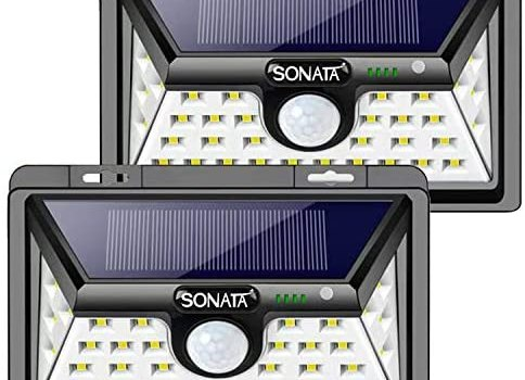 Solar Lights Outdoor, SONATA Solar Powered Motion Sensor Lights 34 Super Bright LEDs Outdoor Waterproof Wall Light with 3 Modes 270° Three-Sided Wide Angle for Garden, Patio Yard(2PACK)