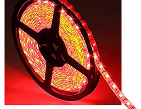 Water-Resistance IP65, 12V Waterproof Flexible LED Strip Light, 16.4ft/5m Cuttable LED Light Strips, 300 Units 3528 LEDs Lighting String, LED Tape(Red) Power Adapter not Included
