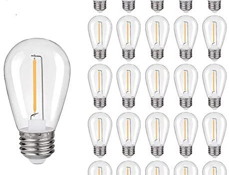 S14 Replacement LED Edison Light Bulbs – 1W Equivalent to 10W, Non-Dimmable 2200K, No Glass Shatterproof & Waterproof Plastic Bulbs, E26 Base Vintage LED Edison Filament Bulb (25 Packs)
