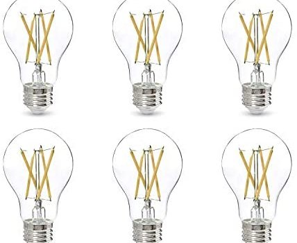 AmazonBasics 60W Equivalent, Clear, Daylight, Dimmable, CEC Compliant, A19 LED Light Bulb | 6-Pack