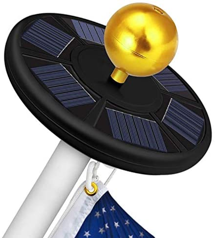 Solar Flag Pole Light 111 Led Solar Powered Flag Pole Light Ultra Bright Full Coverage Flagpole Downlight for Most 15 to 25 Ft Poles-Auto ON/Off Weatherproof 5x Brighter Fits 0.5″ Wide Flag Ornament