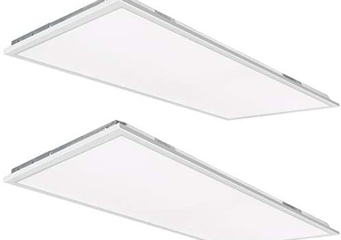 Hykolity 2×4 FT LED Flat Panel Troffer Light, 50W 5000K Recessed Back-Lit Drop Ceiling Light, 5500lm Lay in Fixture for Office, 0-10V Dimmable, 3-Lamp F32T8 Fixture Replacement, 2 Pack