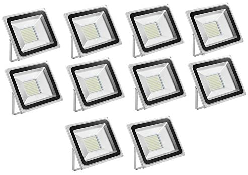 LED Flood Light,chunnuan,100W,10000lm,IP65 Waterproof,6000-6500K (Cold White) Super Bright Security Lights Work Light Outdoor Floodlight for Garage, Garden, Lawn and Yard 110V (10 pcs)
