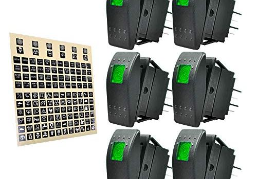 eFuncar Rocker Switch 12V 24V ON/Off, Green LED Rocker Toggle Switch for Boat Auto, Car Marine Rocker Light Switch SPST Self-Latching 4 Pins – 6 Pack, 1 Pack DIY Stickers