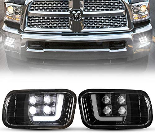 BUNKER INDUST Dodge Ram LED Fog Lights with Daytime Running Lights Set,1 Pair Clear Lens Spot Flood Driving Fog Lamps L-type DRL Replacement for 2009 2010 2011 2012 Dodge Ram 1500 2500 3500
