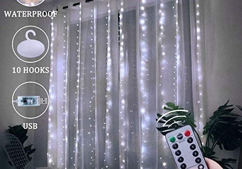 Window Curtain String Lights, 300 LED USB Powered String Lights, 8 Lighting Modes Waterproof Decorative Lights for Bedroom Wedding Party Backdrop Outdoor Indoor Wall Decoration(9.8×9.8 Ft)