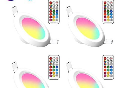 Lemonbest 4 Pack 3 Inch Color Changing 5W LED Ceiling Downlight Recessed Lighting kit for Decoration Lighting lamp 110V with Safe Built- in Transformer Remote Controller (RGB+ Warm White)