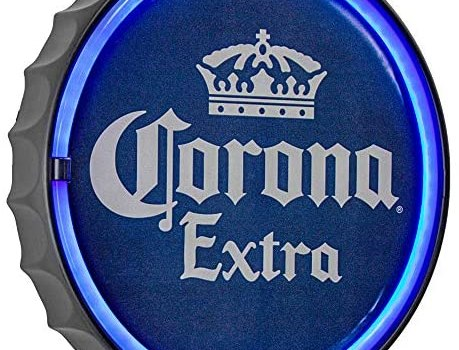 "American Art Decor Corona Extra LED Neon Light Sign Wall Decor – Corona Beer Bottle Cap LED Neon Sign for Man Cave, Bar, Garage, Game Room – USB Powered (12.5"")"