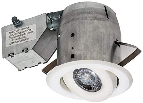 Nadair GU378L-SWWH 4in LED Swivel Dimmable Downlight Recessed Light , 3000K Warm White, LED GU10 550 Lumens Bulb Included, IC Rated, 4in, White