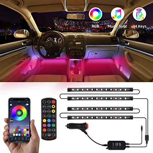 TATUFY Interior Car Lights, 4pcs 48 LED DC 12V Interior Car Lights Bluetooth App Control Lighting Kits Multi Color Music with Car Charger Sound Active Function for Smart Phone