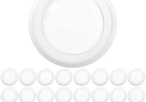 Sunco Lighting 24 Pack 5 Inch / 6 Inch Flush Mount Disk LED Downlight, 12W=75W, 4000K Cool White, 850 LM, Dimmable, Hardwire 4/6″ Junction Box, Recessed Retrofit Ceiling Fixture
