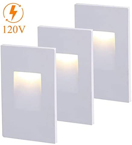Cloudy Bay 120V Dimmable CRI 90+, LED Step Light,Vertical, 3000K Warm White, Stair Light, White Finish,3-Pack