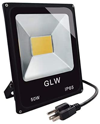 GLW Super Bright 50W Flood Light,Outdoor IP65 Waterproof Security Light,300W Halogen Bulb Equivalent with US 3-Plug,3000K,4500lm,110V Warm White Wall Light