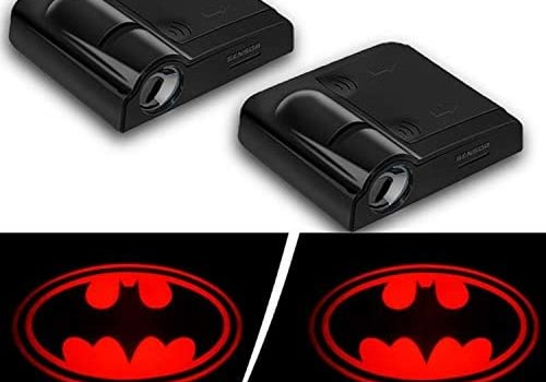 2019 Batman Auto Courtesy Lamp(2pcs), Car Door LED Lighting Entry Laser Ghost Shadow Projector 3D Logo Car Welcome Puddle lights (New Red Bat)