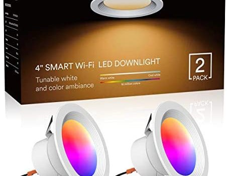 Lumary LED Smart Recessed Light 4 Inch Wi-Fi LED Ceiling Light Color Changing Can Lights Compatible with Alexa Google Assistant 9W 810LM (2 Pack)