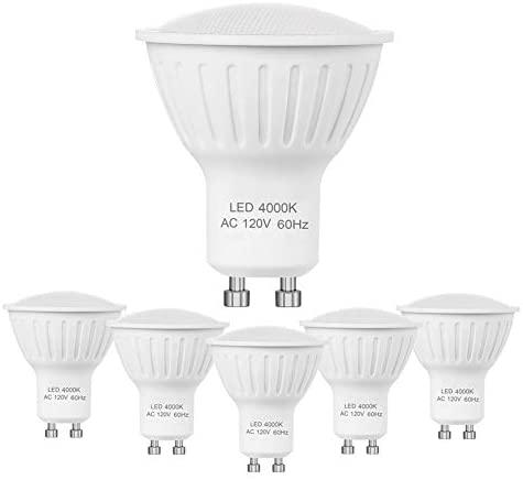 GU10 LED Bulbs, 7W Equivalent 60W Halogen Bulbs, 120V Dimmable Natural White 4000K 120 Degree Beam, Track Light and Recessed Light, 700Lms, 6 Pack