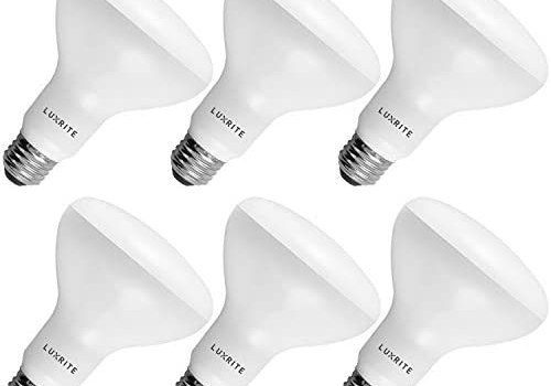 6-Pack BR30 LED Bulb, Luxrite, 65W Equivalent, 3000K Soft White, Dimmable, 650 Lumens, LED Flood Light Bulbs, 9W, Energy Star, E26 Medium Base, Damp Rated, Indoor/Outdoor – Living Room and Kitchen