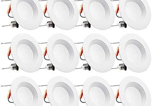 TORCHSTAR 12-Pack 5/6Inch Dimmable LED Retrofit Recessed Downlight with Baffle Trim, 15W (120W Equivalent), UL-Listed, CRI90+, 1100lm,5000K Daylight, 5 Years Warranty
