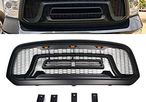 Quakeworld Black Mesh Replacement Front Grille Grill Rebel Style for 2013 2014 2015 2016 2017 2018 Dodge Ram 1500 With 3 Amber LED lights, No R&A&M Letters