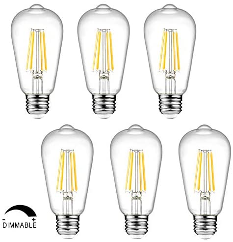 Dimmable Ascher Vintage LED Edison Bulbs, 6W, Equivalent 60W, 700lm, Warm White 2700K, ST58 Antique LED Filament Bulbs, E26 Medium Base, Clear Glass, Pack of 6