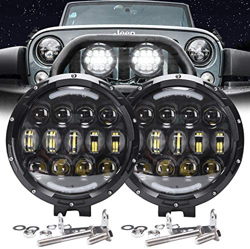 AUDEXEN LED Work Lights, 7 Inch 105W Round Spot LED Pods Light Bar High/Low Beam DRL with Adjustable Mounting Bracket Compatible with Jeep Off Road 4WD Truck SUV UTV ATV Driving Lamp, 2 PCS