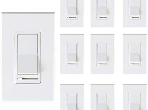 [10 Pack] Cloudy Bay 3-Way/Single Pole Dimmer Electrical Light Switch for 150W LED/CFL 600W Incandescent/Halogen,Wall Plate Included,Pack of 10