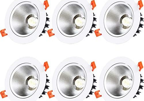 POCKETMAN 3 Inch LED Recessed Downlight,5W 6000K-6500K Cool White 350LM Spotlight Lamp Recessed Ceiling Light with Driver(6 Pack)