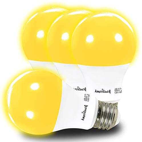 AmeriLuck Yellow Colored A19 LED Bug Mosquito Light Bulb, 60W Equivalent (7W), Pack of 4