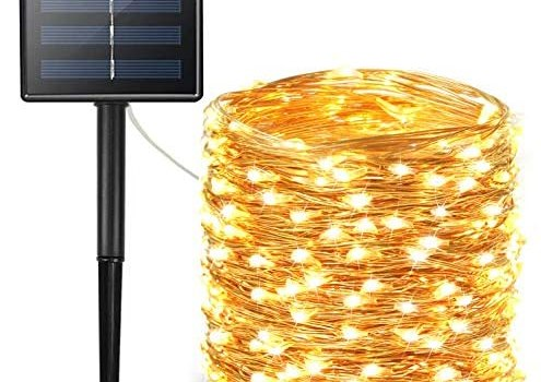 BHCLIGHT Solar String Lights Outdoor, Upgraded 200 LED Waterproof Solar Lights with Bigger Solar Panel, Solar Fairy Lights Outdoor Decoration for Garden, Yard, Patio, Lawn -Warm White (Copper Wire)