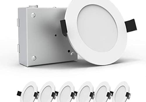 Heybright 6 Pack 4 Inch Recessed Lighting with Driver Box, 9W 80W Eqv, Dimmable Ultra Thin LED Downlight, Can-Killer Low Profile Ceiling Light, 650 Lm ETL & Energy Star Certified ( 3000K )