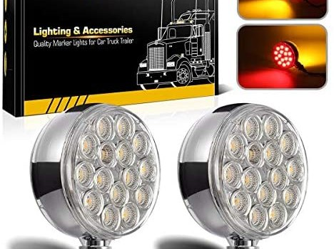 Partsam 2pc 3″ Red/Amber Double Face Chrome Round Pedestal Lights 30 LED Sealed Clear Lens Fender Mount Stop Turn Tail Lights Replacement for Peterbilt/Kenworth/Freightliner/Volvo Trucks Trailers