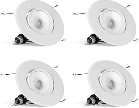 Hyperikon 6 Inch Rotatable LED Recessed Gimbal Lighting, 16.5W=75W, 5 Inch, Dimmable Downlight, Energy Star, Soft White, 4 Pack