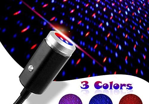 USB Star Night Light, 3 Colors – 7 Lighting Effects, Aevdor Auto Roof Star Lights, Portable Romantic Light for Bedroom, Car, Party, Ceiling and More- Plug and Play (Blue & Red)