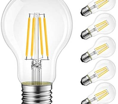 LVWIT A19 Vintage Edison LED Filament Bulb E26 Base, 5W (40W Equivalent), Warm White 2700K, 450 Lumens, Non-Dimmable, 3 Year Warranty, UL-Listed, Pack of 6