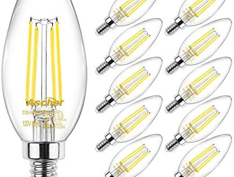 Ascher E12 Candelabra LED Light Bulbs 60 Watt Equivalent, 550 Lumens, Daylight White 5000K, Decorative Candle Base, Filament Clear Glass, Non-Dimmable, Pack of 10
