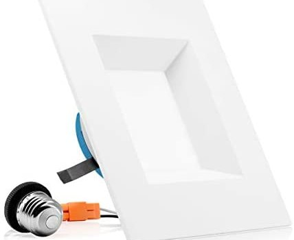 PARMIDA 6 inch Dimmable LED Square Recessed Retrofit Lighting, Easy Downlight Installation, 12W (100W Eqv.), 950lm, Ceiling Can Lights, Energy Star & ETL-Listed, 5 Year Warranty, 3000K – 1 Pack