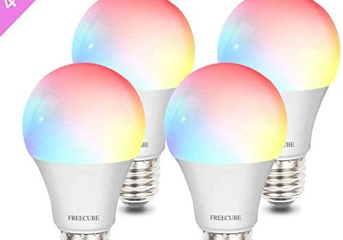 Smart Light Bulb, Dimmable A19 E26 9W LED Light Bulbs, FREECUBE Smart Bulb Compatible with Alexa & Google Home No Hub Required, Color Changing 60W Equivalent 2.4Ghz 910LM 4 Pack, for Home Room Bar etc