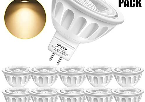 MikeWin MR16 LED Light Bulb 10 Pack Non Dimmable, 2700K Warm White, 5W(50W Equivalent), Gu5.3 Bi-Pin Base, 40-Degree, AC/DC12V Spot Lighting for Indoor/Outdoor Landscape Track Bulbs