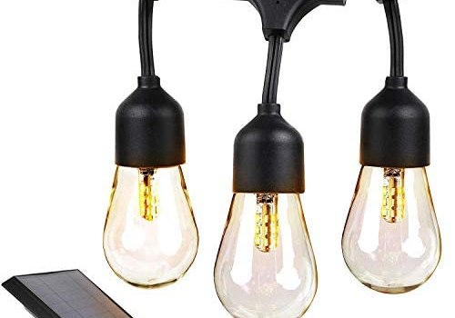 Brightech Ambience Pro – Waterproof, Solar Powered Outdoor String Lights – 27 Ft Hanging Edison Bulbs Create Bistro Ambience On Your Patio – Commercial Grade, Shatterproof – 1W LED, Warm White Light