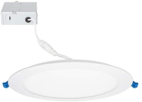 Maxxima 8 in. Slim Round LED Downlight, Flat Panel Light Fixture, Dimmable Recessed Canless IC Rated, 1250 Lumens, Neutral White 4000K, 18 Watt, Junction Box Included.