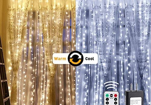 LE Dual Color LED Curtain Lights, 2 in 1 Cool and Warm White, Timer/Remote/Dimmable/9 Modes, 9.8×9.8ft 300 LED, Indoor Outdoor Wall Window String Light for Bedroom, Party, Wedding, Patio and More