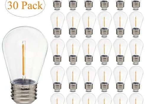 VISTHER S14 Edison Light Bulbs LED 1W, Shatterproof, UL Listed, Replacement Bulbs for String Lights, Patio Low 1 Wattage E26 Outdoor led Filament Clear Bulb