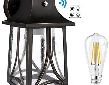 CINOTON Outdoor Wall Lantern, Dusk to Dawn Photocell Sensor Wall Sconce Die-Casting Aluminum Seeded Glass Shade IP65 Waterproof Outdoor Front Porch Lights Wall Mount Includes 2700K E26 8W LED Bulb
