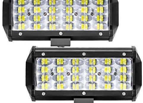 Zmoon LED Light Bar 2PCS 7 Inch 432W LED Pods Flood Spot Beam Combo Off-Road Driving Fog Light for Jeep Truck SUV Ford Chevrolet Boat