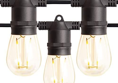 Amico 2 Pack 48FT LED Outdoor String Lights with LED Edison VintagePlastic Bulbs and Weatherproof Strand – Decorative LED Café Patio Light, Bistro Lights