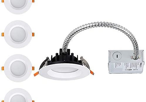 TORCHSTAR 12W 4 Inch LED Slim Recessed Lighting with Junction Box, Dimmable, IC Rated Airtight Downlight, 90W Eqv, ETL & Energy Star Certified, 3000K Warm White, 5 Years Warranty, Pack of 4