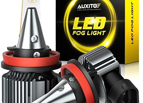 AUXITO H11 H8 H16 LED Fog Light Bulbs, 3000K Golden Yellow Light, With CSP LED Chips, 300% Brighter, IP65 Waterproof, Non-polarity, Pack of 2