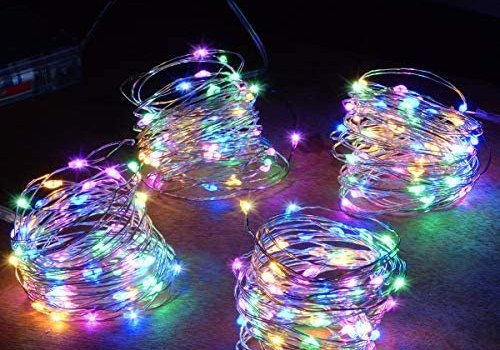 Abkshine 4-Pack 50 LEDs Multicolored Christmas Fairy Lights, Battery Operated Mini LED String Lights for Bedroom/Christmas/Parties/Wedding(Set of 4, Multi-Color)