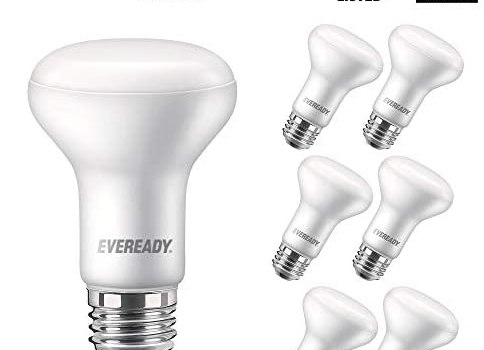 EVEREADY Led Flood Light Bulbs, BR20, 50 Watts Equivalent (7W Led Bulb), 525 Lumen, 2700K Soft White Color, Dimmable, E26 Base Flood Lights for Recessed Cans, Energy Star and UL Certified – 6 Pack
